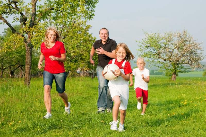 семья играет на природе