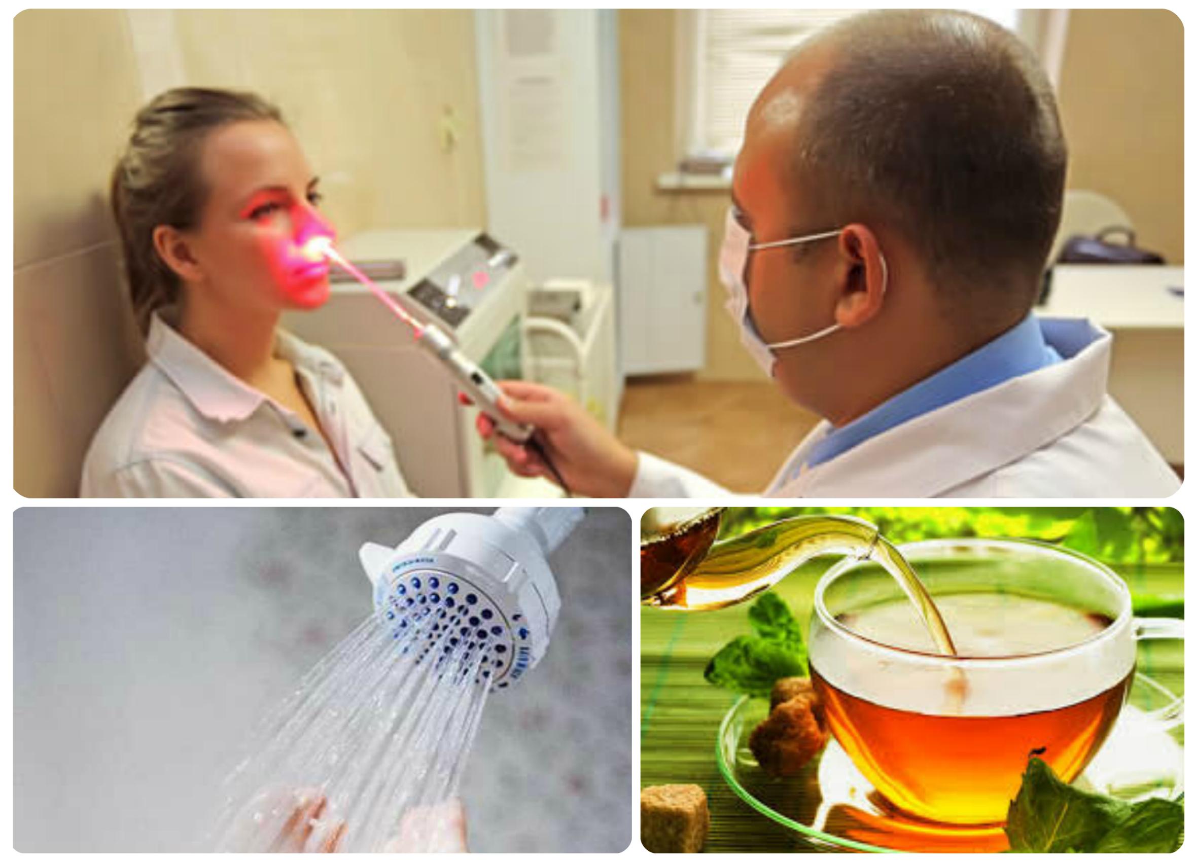 лазерная терапия, душ, обильное питье