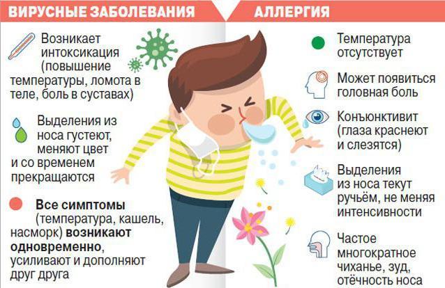 Оличия аллергии от простуды