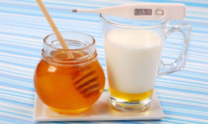 молоко с медом и градусник