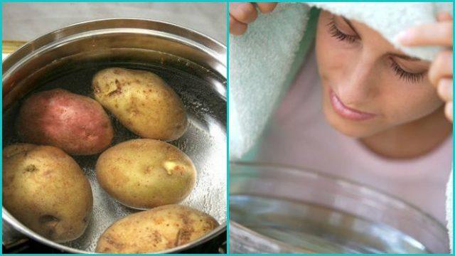 девушка дышет над картошкой