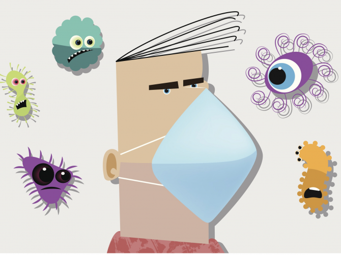 человек в маске и вирусы