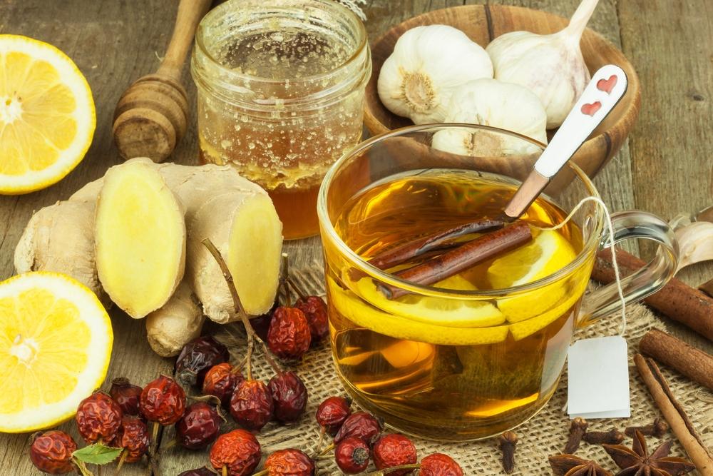 имбирь лимон мед ягоды чеснок и чай