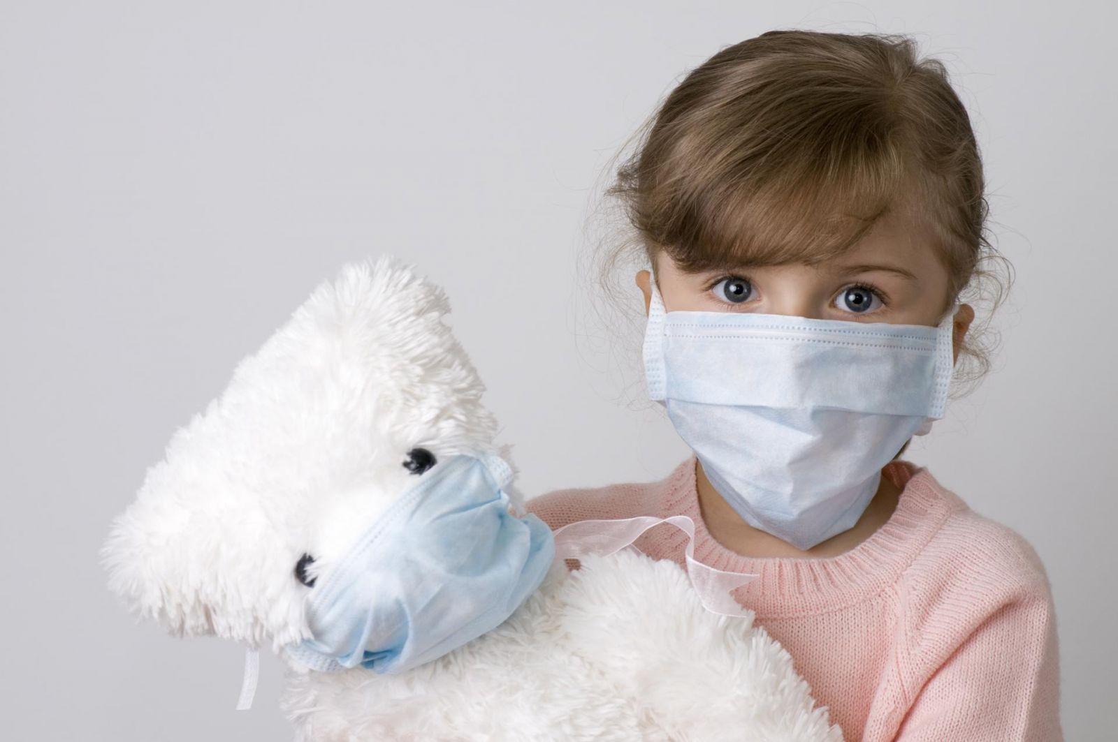девочка в маске с медведем